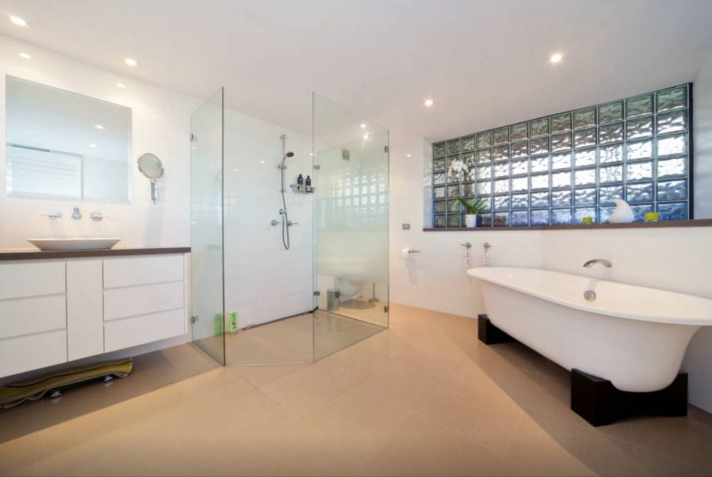 master bathroom with bath