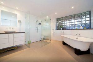 master bathroom with bath